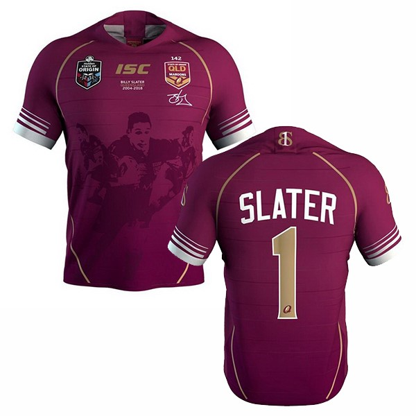 Camiseta Rugby Qld Maroons Slater 2018 Rojo